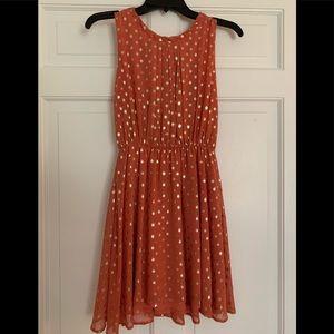 Maison Jules Burnt Orange & Gold Polka Dot dress